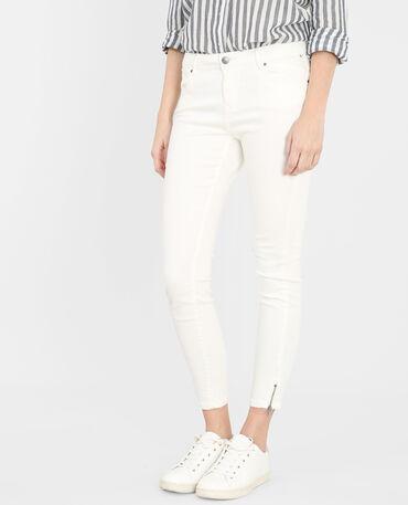Skinny con zip bianco sporco