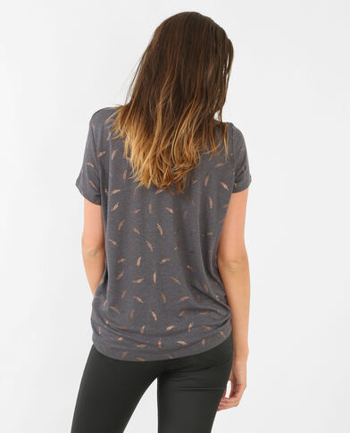 Camiseta estampada gris carbón
