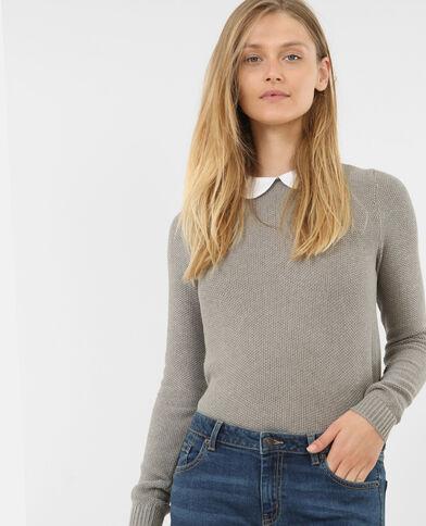 Pullover mit Bubikragen Grau