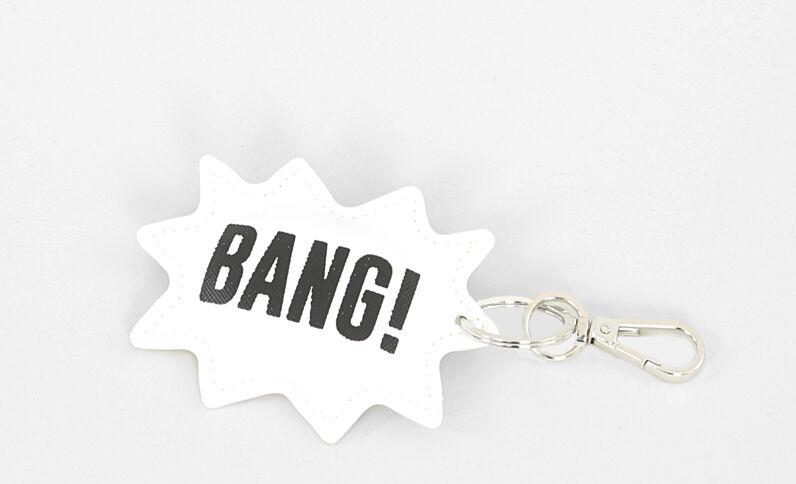 Sleutelhanger 'BANG' gebroken wit