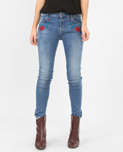 Skinny-Jeans mit Stickerei Denimblau