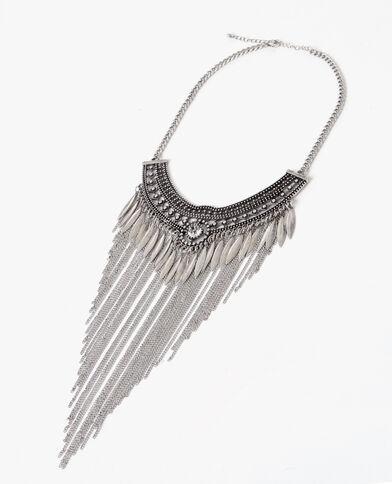Collier plastron à franges gris argenté