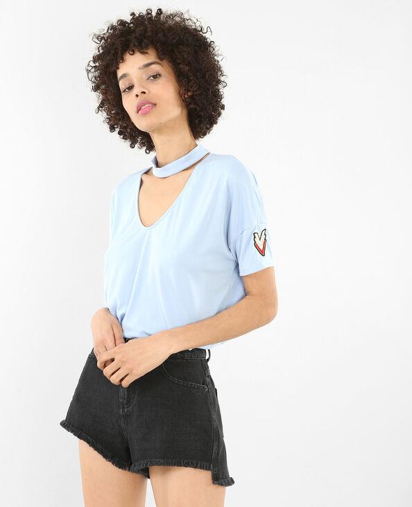 T-shirt met chokerhals Blauw