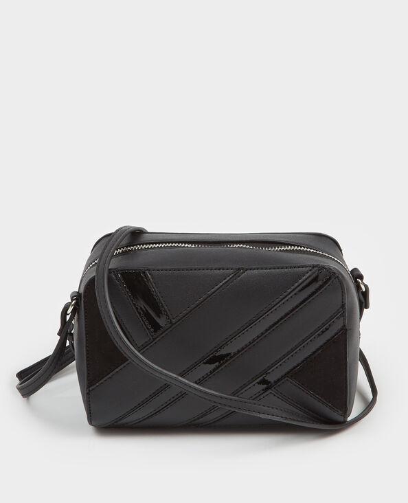 Boxy tasje met patchwork zwart