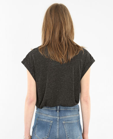 T-Shirt mit Zierausschnitt Grau