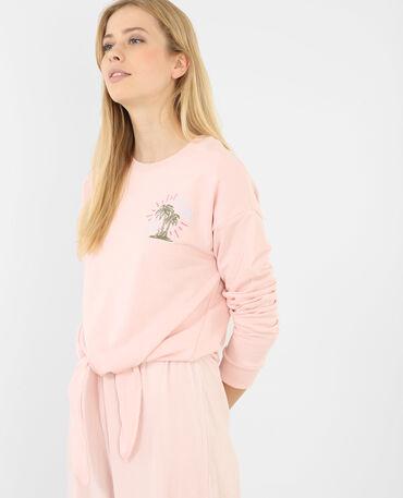 Besticktes Sweatshirt zum Binden Zartrosa