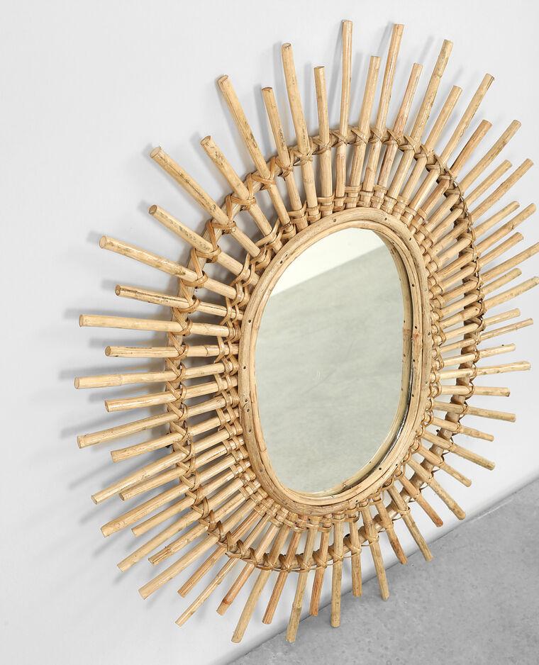 Miroir soleil en rotin beige taupe