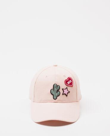 Casquette à patchs rose