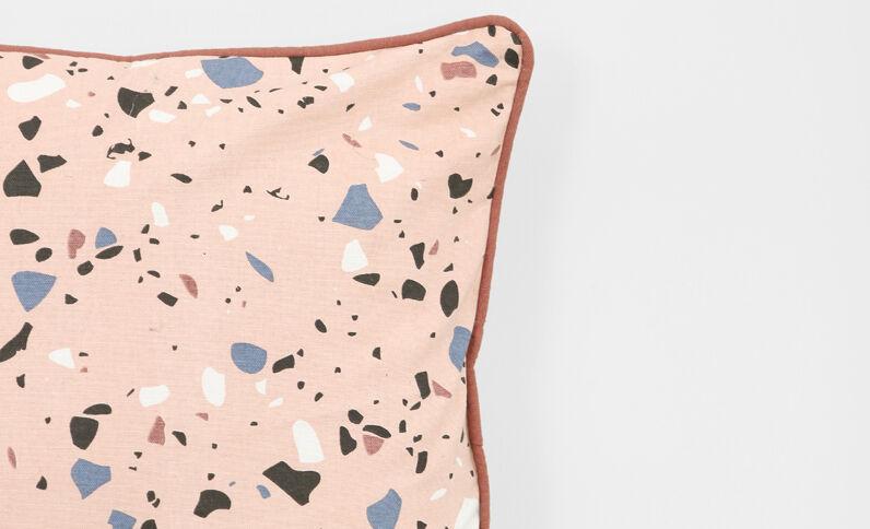 Funda de cojín de punto acanalado rosa