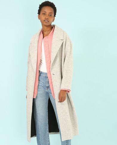 Langer Mantel aus Wollmischgewebe Grau meliert
