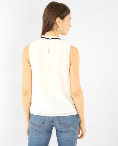 Voile-Bluse mit Brustlatz Altweiß