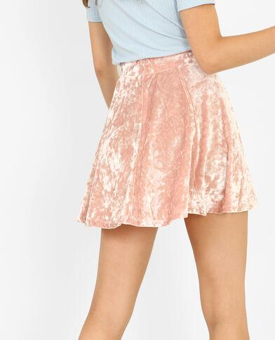 Minifalda patinadora efecto terciopelo rosa