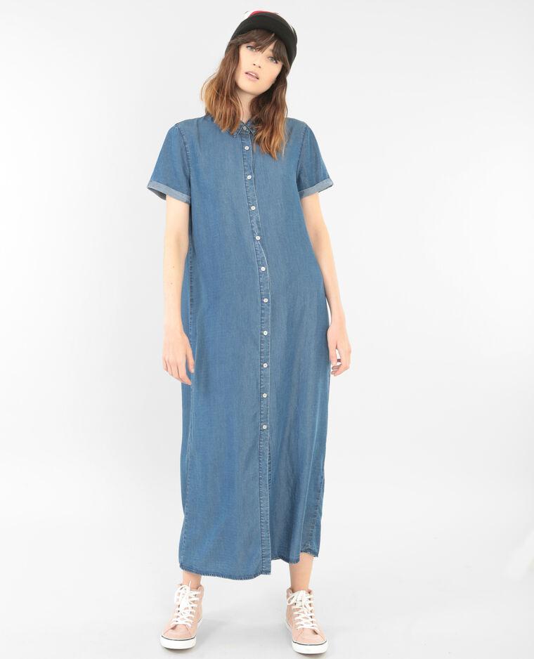 Langes Hemdblusenkleid Blau