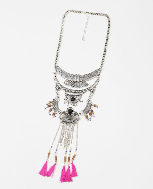 Plastron-Halskette mit Bommeln Silberig
