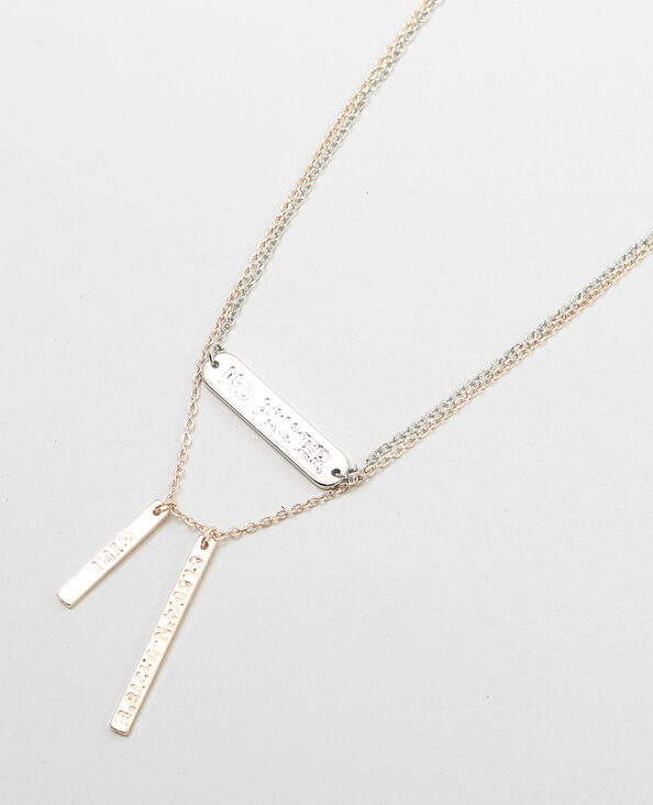 Collane con piastrine di metallo grigio paillettato