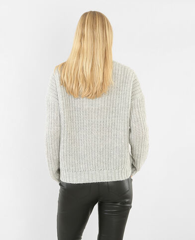 Pull grosse maille gris chiné