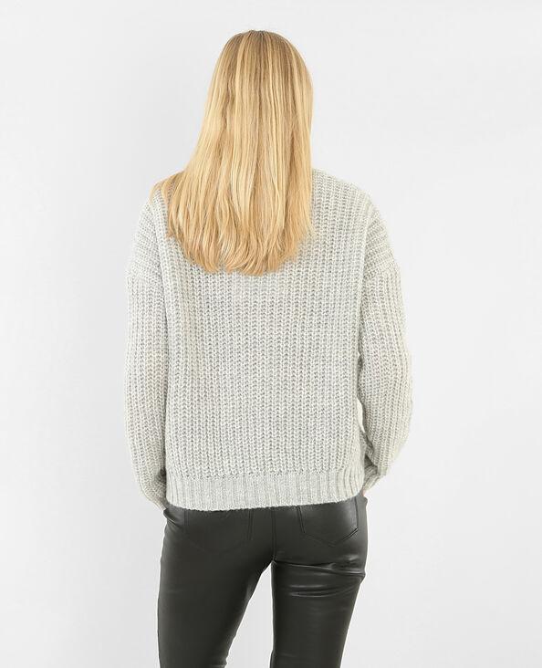 Grob gestrickter Pullover Grau meliert
