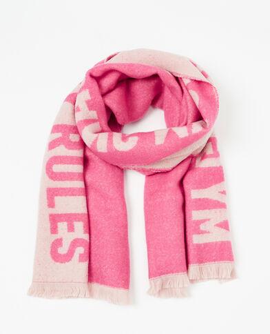 Plaid-Schal mit Textaufschrift Pink
