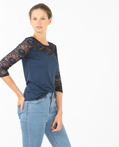 T-shirt bimateriale pizzo blu marino