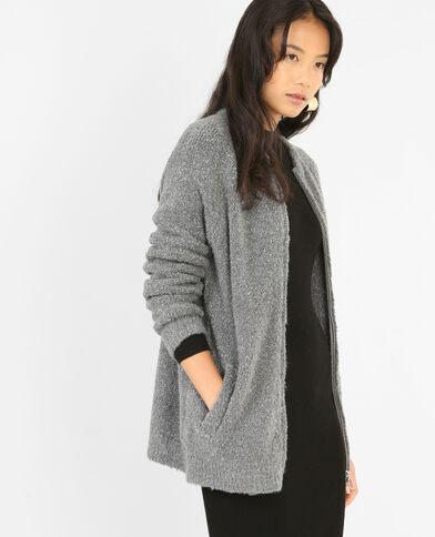 Long gilet zippé gris