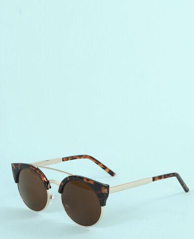 Gafas de sol con puente y barra transversal marrón