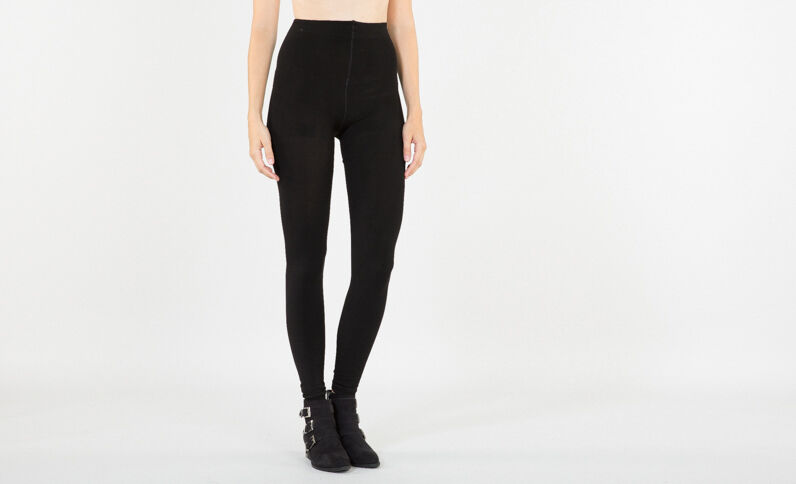 Leggings con fodera in pile nero