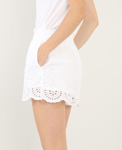 Shorts bordados crudo