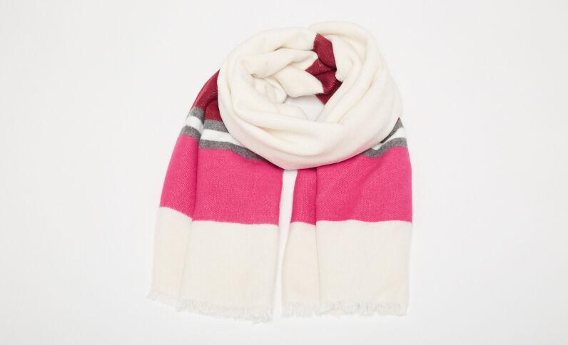 Grande écharpe à bandes blanc