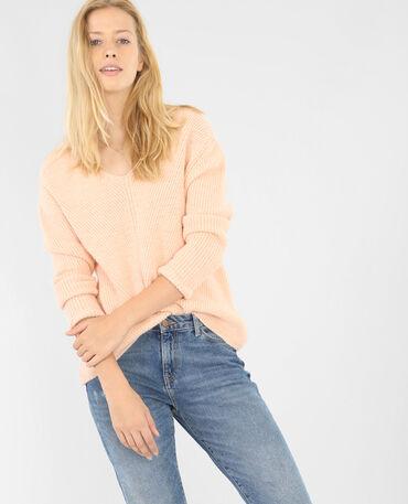 Weiter Pullover mit V-Ausschnitt Rosa