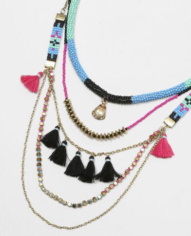Sautoir multirangs perles et pompons bleu