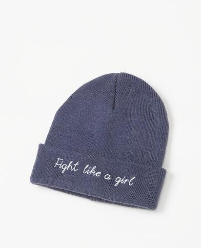 Bestickte Mütze ausgewaschenes Blau
