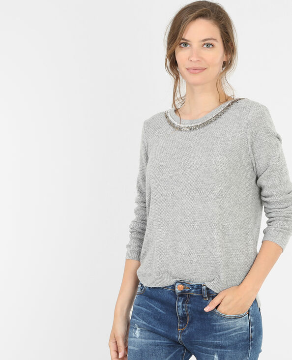 Pull col perles rocaille gris chiné