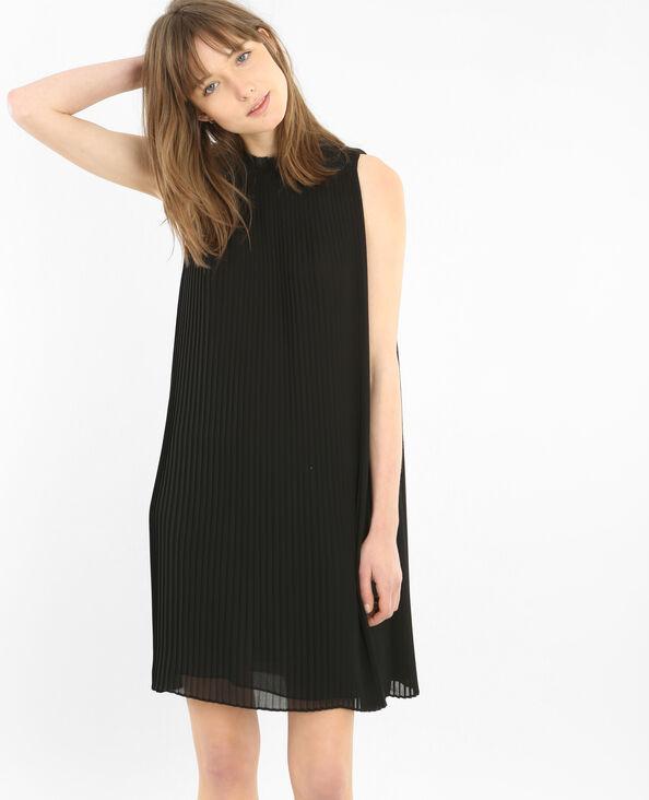 Vestido de gasa plisada negro