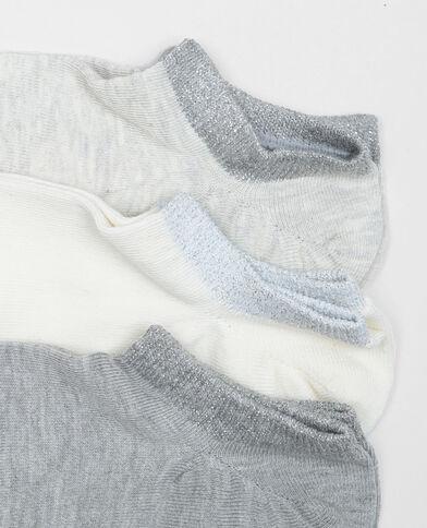 Calcetines tobilleros de lúrex marfil