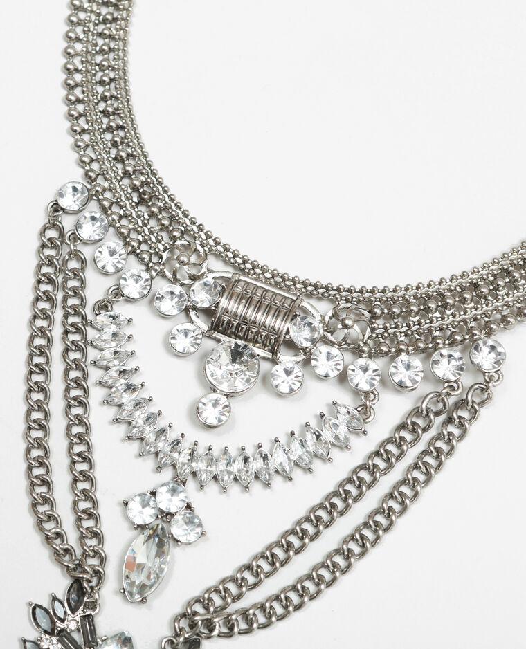 Brede, metalen halsketting met glittersteentjes zilvergrijs