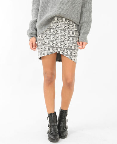 Minifalda jacquard gris jaspeado