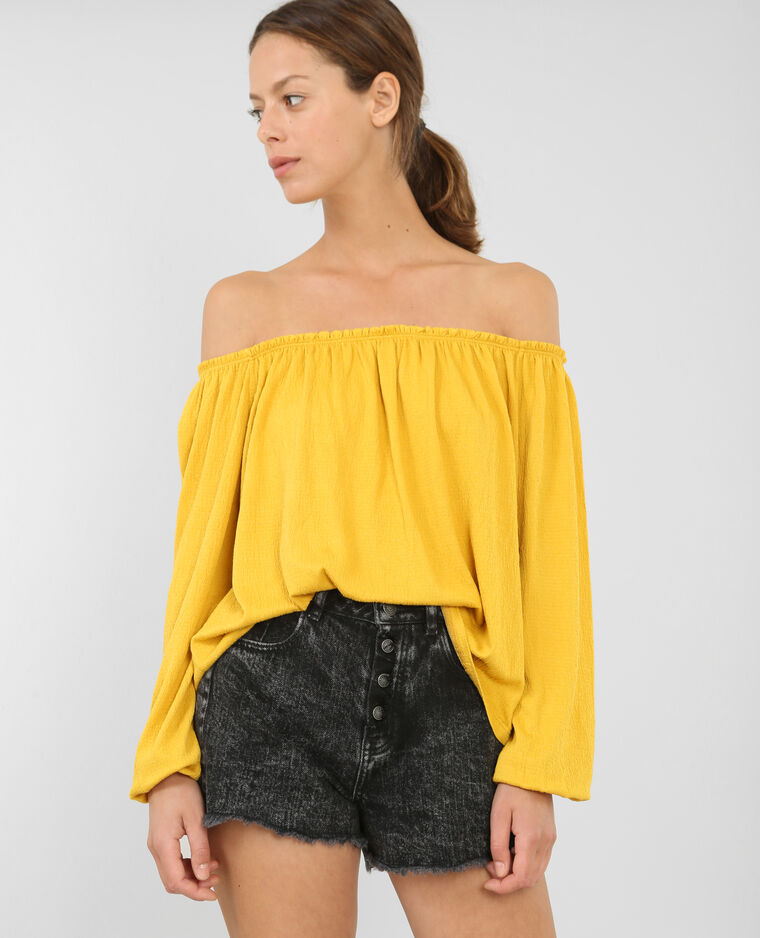 Blouse col bardot jaune moutarde