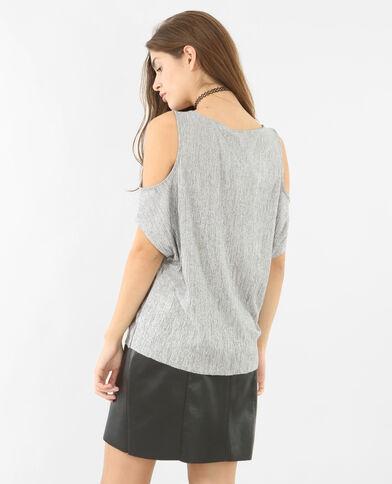 T-shirt peekaboo métallisé gris argenté