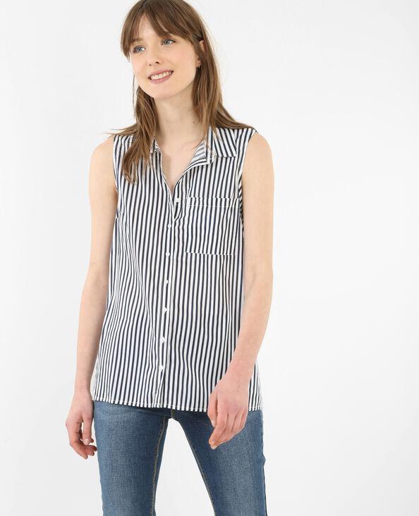 Mouwloze blouse met streepjes marineblauw