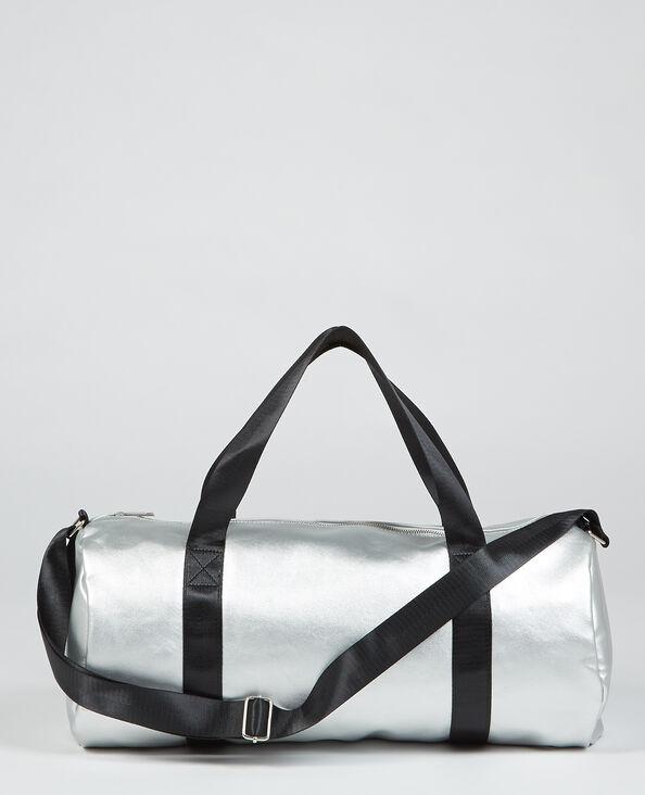 Sac polochon métallisé gris argenté