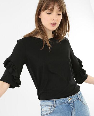 Camiseta con volantes negro