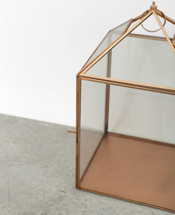 Kaarshouder van glas en metaal goudkleurig