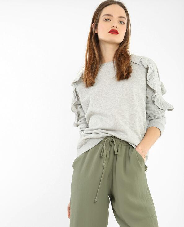 Sweatshirt mit Rüschen Grau meliert