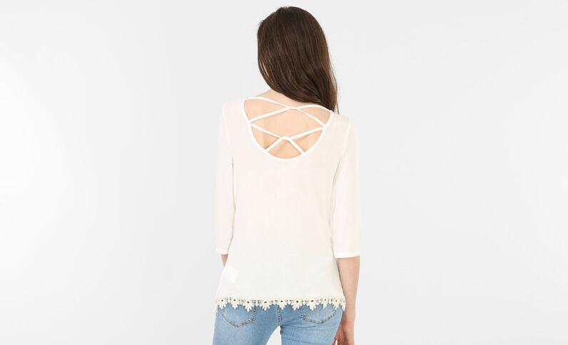 T-shirt dos croisé blanc cassé
