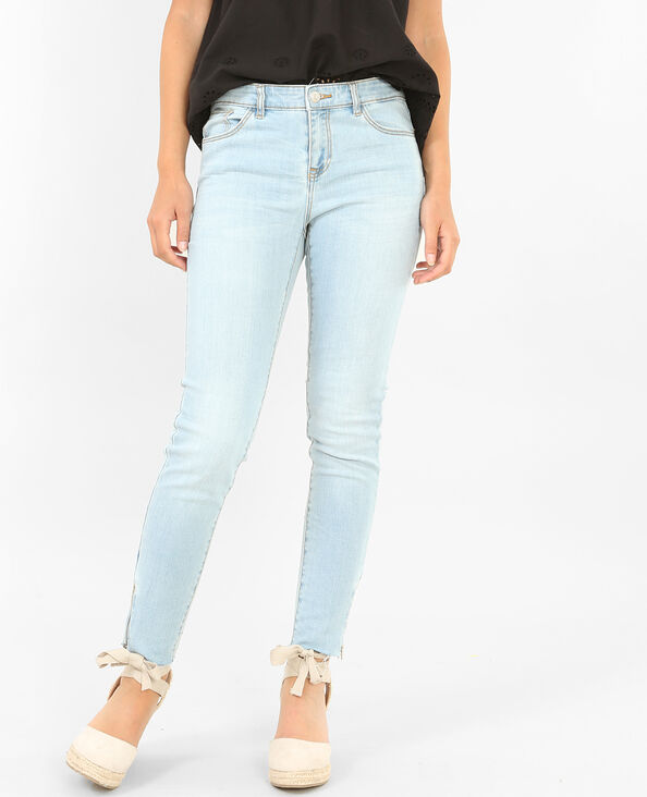 Raw Jeans im Skinny-Fit mit Reißverschluss Hellblau