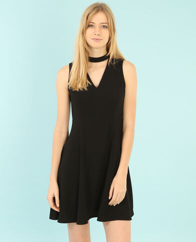 Skater-Kleid mit Choker-Kragen Schwarz