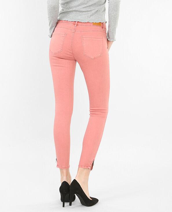Skinny con zip rosa