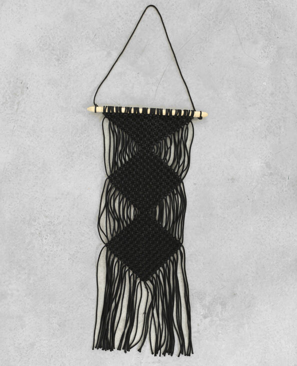 Suspension macramé à franges noir