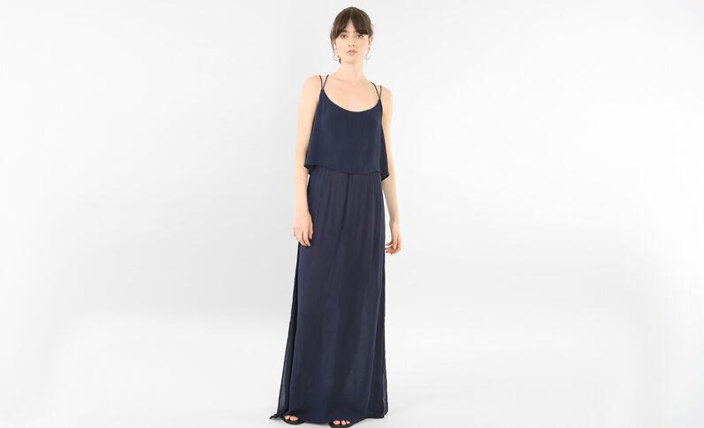 Lange jurk met gekruiste rug marineblauw