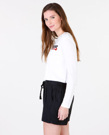 T-shirt cropped message blanc cassé